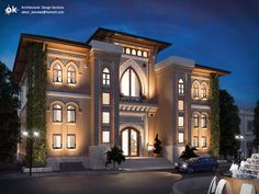 Exterior,interior design, and visualization Client: Sherif M Country : KSA software used : studio max - vray - photoshop Task : Design (. KSA Boutique hotel - First draft exterior Spanish Architecture, Hotel Architecture, Islamic Architecture, Architecture Design, Classic House Design, Unique House Design, House Front Design, Plan Hotel, Model House Plan