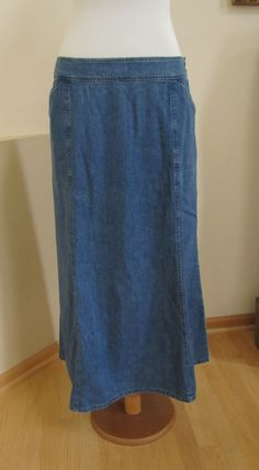 Pendleton Denim Jean Skirt 18  Modest Maxi Medium Blue Cotton Boho Long No slit  #Pendleton #Maxi