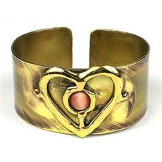 Peach Tiger Eye and Brass Heart Cuff - Brass Images (C)