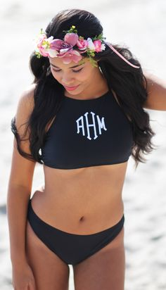 cc7efd8018b7b Monogrammed High Neck Bikini Top - Black