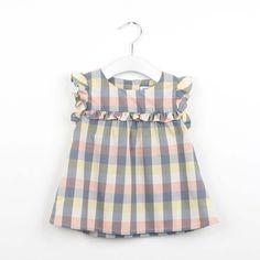 SS16 Kenya check frill blouse