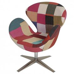 HOUSE BRAND | Arne Jacobsen Inspired Swan Chair in Patchwork - Furniture - 5rooms.com Arne Jacobsen, Swan Chair, Egg Chair, Design Inspiration, Colours, Armchairs, House, Ea, Scrappy Quilts