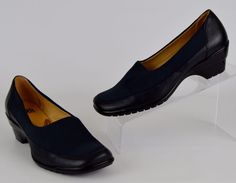 Sofft Women's Size 7.5 N Blue Leather Stretch Heels  #Sofft #PumpsClassics #WeartoWork
