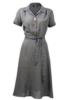 1940s Shirt Dress - houndstooth