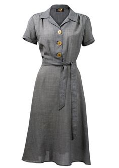 $123 1940s Shirt Dress - houndstooth - Fashion 1930s, 1940s & 1950s style - vintage reproduction
