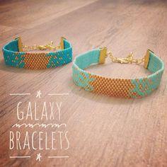 BRACELET GALAXY tissé en PERLES, Bijou Boho et glamour fait main, Bracelets dorés aux reflets métalliques disponibles en nombreuses couleurs