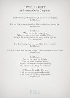 I Will Be Here by Stephen Curtis Champman | Wedding Readings | http://www.rockmywedding.co.uk/reading-ideas-for-your-wedding-ceremony/