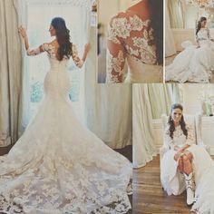 vestidos de noiva 2014 Romantic Long Sheer Scoop Neck Three Quarter Sleeves Lace Mermaid Wedding Dresses