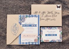 Blue and peach wedding stationery