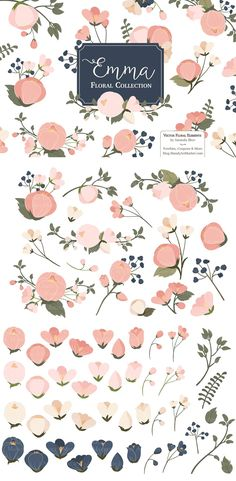Big, beautiful blooms are accented by smaller, delicate flowers and foliage in this pretty collection. Includes 8 floral bunches and 42 individual floral elements in my pretty Navy & Blush color scheme. A beautiful accent for custom wedding invitations and home decor.