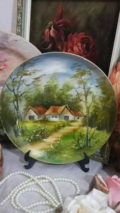China Painting, Mural Painting, Stone Painting, Watercolor Landscape, Landscape Art, Landscape Paintings, Waterfall Paintings, Barn Art, Rock Painting Ideas Easy