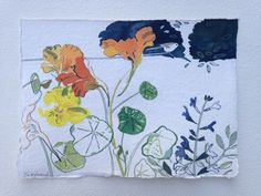 Nasturtiums and long-tailed tit (gouache painting) Flower Sketches, Gouache Painting, Summer Days, Bird, Paper, Flowers, Inspiration, Biblical Inspiration, Birds