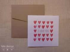 Water Colour Hearts Greeting Card
