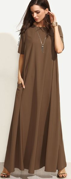 Brown Short Sleeve Zipper Back Maxi Dress. Two colors available.