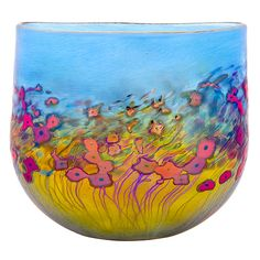 """California Poppy Flat Crucible Vase"" Art Glass Vase by Robert Held Created by Robert Held"