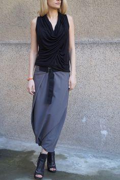 Draped Pants/Loose Skirt Pants/Khaki Harem by FloAtelier on Etsy