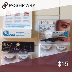 SALE TODAY ONLY 😀 2 pack eyelashes + glue Ardell Glamour & deluxe pack  eyelashes with applicator and glue, New In Box. Ardell Makeup False Eyelashes