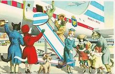 Boarding-the-Airplane-Alfred-Mainzer-Dressed-Cats-Fantasy-Postcard
