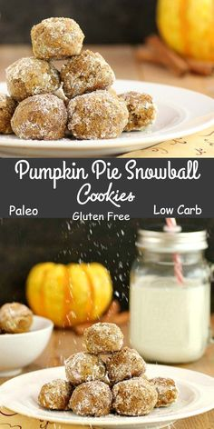 Pumpkin Pie Snowball Cookies - Paleo, gluten free and low carb. Oh, so  very yummy!! via @staceyloucraw