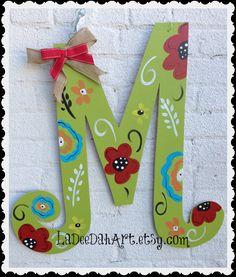 monogram letter initial door decor door art spring by ladeedahart Letter Door Hangers, Initial Door Hanger, Door Letters, Monogram Letters, Monogram Initials, Painted Initials, Painting Wooden Letters, Painted Letters, Decorated Letters