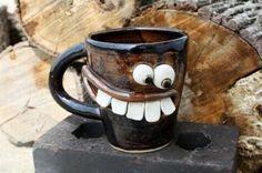 Coffee Mug Design Creative Coffee, Unique Coffee Mugs, I Love Coffee, Funny Coffee Mugs, Coffee Humor, Funny Mugs, Crackpot Café, Face Mug, Clay Mugs