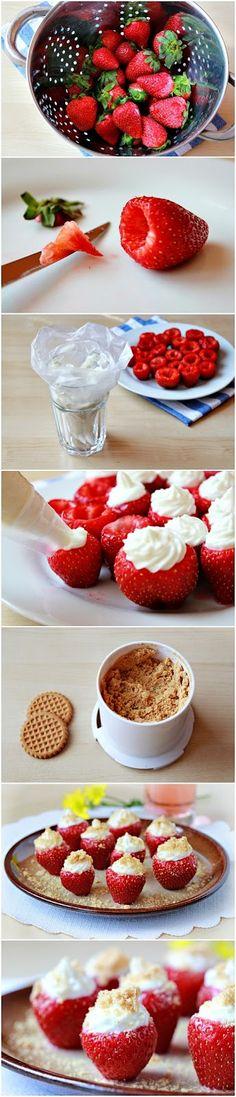 How To Make Cheesecake Stuffed Strawberries | Food Blog