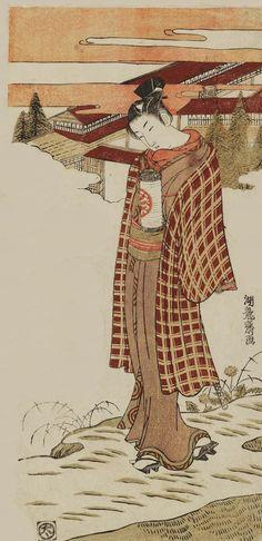 """""""Young Man Carrying a Lantern"""".  Ukiyo-e woodblock print, by artist Isoda Koryusai,  about 1770's, Japan."""