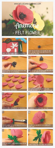 Anemone felt flower step by step tutorial and free pattern included. Click…… Anemone felt flower step by step tutorial and free pattern included. Click… Anemone felt flower step by step tutorial and free pattern included. How To Wrap Flowers, Diy Flowers, Fabric Flowers, Paper Flowers, Ribbon Flower, Felt Diy, Felt Crafts, Diy Crafts, Fabric Crafts