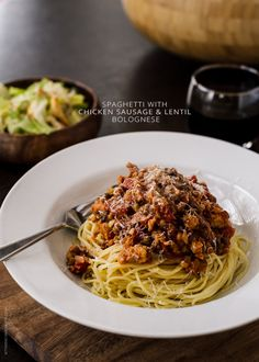 Spaghetti with Chicken Sausage and Lentil Bolognese   www.kitchenconfidante.com