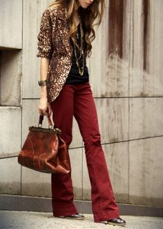 Leopard print + oxblood.