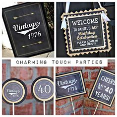 40th Birthday Party Decorations.  4 piece party box.  Masculine and Vintage. Chalkboard, black and gold. Fully assembled and customizable. by CharmingTouchParties on Etsy