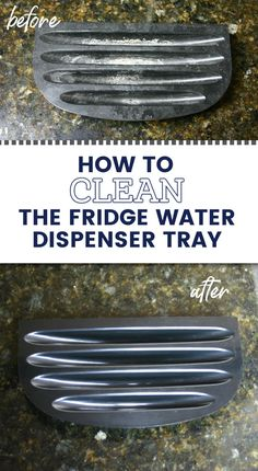 Easily clean the limescale buildup and hard water stains on your refrigerator water dispenser tray with just 1 ingredient and no hard scrubbing! It's a great cleaning hack for your fridge! Hard Water Stains, Water Dispenser, Spring Cleaning, Cleaning Hacks, Refrigerator, Tray, Refrigerators, Trays, Hard Water Spots