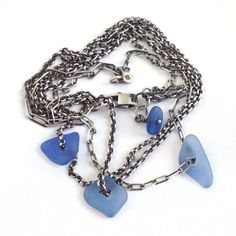 Sterling Silver Seaglass Necklace Coneflower Blue Beach by SToNZ, $175.00