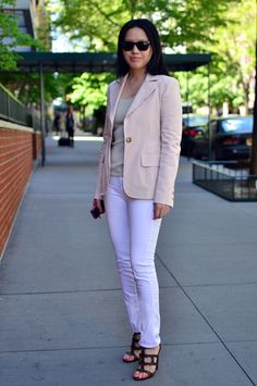 blush pink blazer + neutral top + and white pants = perfect summer look...even though blazer & pants in TX are way too hot ;)