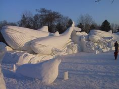 This amazing picture is from a snow sculpture contest.