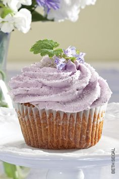 From the archive: These Ohio Honey and Lavender Cupcakes with Honey-Vanilla Buttercream Frosting are as pretty as they are delicious. | Recipe | OhioMagazine.com