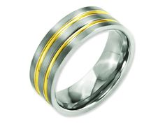 This delightful Chisel Titanium Grooved Yellow Ip-plated 8mm Brushed and Polished Weeding Band. This product measures 8.00 mm wide. Metal weight may vary with finger size and metal choice. GIFT CARD O