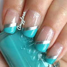 turquoise sliver stripes french nails with glitter Fabulous Nails, Gorgeous Nails, Pretty Nails, Frensh Nails, Hair And Nails, Coffin Nails, Nails 2016, Wedding Nails For Bride, Bride Nails