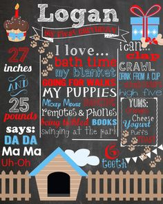 Custom First Birthday Chalkboard Poster/ Invitation - Puppy Party - Doggies - My Puppies - Blue and Red - Paw Prints - 2nd Birthday - Boys