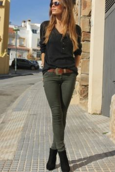 f7ae8978dd 20 Pretty Ways to Wear Khaki Outfit RORESS closet ideas fashion outfit style  apparel Black Top and Khaki Pants via 20 Pretty Ways to Wear Khaki Outfit  ...