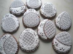 Vajíčko krajkové ploché Cookie Icing, Biscuit Cookies, Lace Cookies, Sugar Cookies, Gingerbread Icing, Easter Cookies, Cookie Designs, Lace Embroidery, Chocolate Cookies