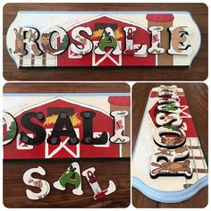 Barn Animals, Name Puzzle, Farm Barn, Holiday Decor, Handmade Gifts, Awesome, Etsy, Vintage, Home Decor