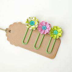 3 Handmade FLORAL PAPER CLIPS  Bookmarks Office by PapersAndPetals, $3.25