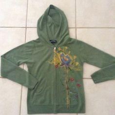 Hoodie sweater Sap green with  lotus flower and dragonfly. Tops Sweatshirts & Hoodies