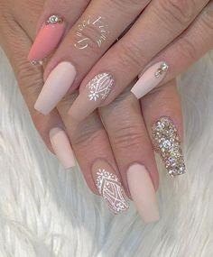 This is a sophisticated combination, rhinestones give an elegant look and glamour to this combination. Gentle tones of rose color flatters almost every lady. Nail Design, Nail Art, Nail Salon, Irvine, Newport Beach