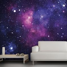 This colorful wallpaper can be completely customized using your own intergalactic photos, adding a nice touch to any room.
