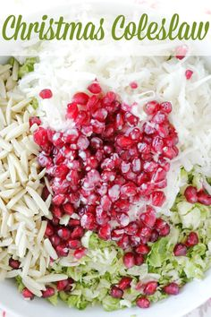 Coleslaw with a festive twist – made with brussels sprouts, pomegranate and jicama. Coleslaw with a festive twist – made with brussels sprouts, pomegranate and jicama. Christmas Salad Recipes, Holiday Recipes, Winter Salad Recipes, Christmas Cooking, Christmas Dishes, Cooking Recipes, Healthy Recipes, Side Dish Recipes, Side Dishes