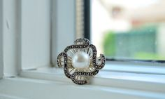 Art Deco Pearl Ring  Sterling Silver Cocktail Ring  by barargent, $50.00