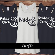 12 Bride's Crew Bachelorette Party Tank Tops Nautical Bridal Party... ($240) ❤ liked on Polyvore featuring tops, black, tanks, women's clothing, bride shirt, checkered shirt, going out shirts, nautical shirt and black tank