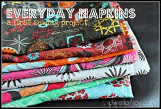 Dwell on Joy: Everyday Napkins {first ever sewing project}